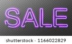 neon sale sign. vector... | Shutterstock .eps vector #1166022829