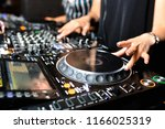 two white young girls party dj... | Shutterstock . vector #1166025319