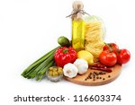 set fresh vegetables with olive