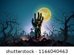 happy halloween background with ... | Shutterstock .eps vector #1166040463