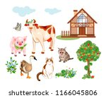 set of farm animals and pets...   Shutterstock .eps vector #1166045806