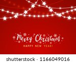 christmas background with shiny ... | Shutterstock .eps vector #1166049016