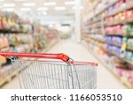 empty shopping cart with... | Shutterstock . vector #1166053510