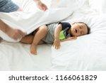 cute baby boy sleeping on the... | Shutterstock . vector #1166061829