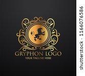 heraldry vector logo. gryphon... | Shutterstock .eps vector #1166076586