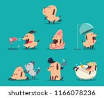 dog beauty salon. funny puppies ... | Shutterstock .eps vector #1166078236