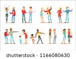 people fighting and quarrelling ... | Shutterstock .eps vector #1166080630