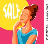 cute girl dreaming about sales. ...   Shutterstock .eps vector #1166094526