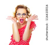Stock photo funny surprised pin up girl isolated on white freak out woman 116610016