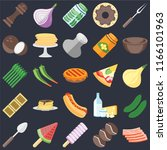 set of 25 icons such as bacon ...