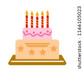 vector birthday cake... | Shutterstock .eps vector #1166105023