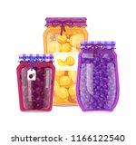preserved fruit in glass jars... | Shutterstock .eps vector #1166122540