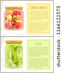 canned tomatoes and cucumbers... | Shutterstock .eps vector #1166122573