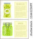 canned olives and peas in jars... | Shutterstock .eps vector #1166122699