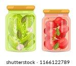 hermetic bottles with preserved ... | Shutterstock .eps vector #1166122789