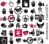 hand icons set. handshake.... | Shutterstock .eps vector #116612374
