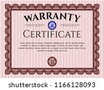 red warranty template. with... | Shutterstock .eps vector #1166128093