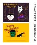 jack o lanterns and evils on... | Shutterstock .eps vector #1166129413