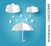 vector white paper cut umbrella ... | Shutterstock .eps vector #1166131849