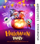 halloween celebration fun party.... | Shutterstock .eps vector #1166135689