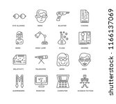 set of 16 simple line icons... | Shutterstock .eps vector #1166137069
