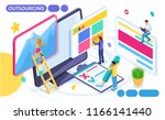 isometric concept of remote... | Shutterstock .eps vector #1166141440