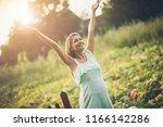 joy of life. happy pregnant...   Shutterstock . vector #1166142286