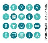 light bulbs flat glyph icons.... | Shutterstock .eps vector #1166145889