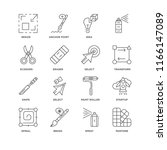 set of 16 simple line icons... | Shutterstock .eps vector #1166147089