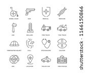 set of 16 simple line icons... | Shutterstock .eps vector #1166150866