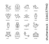 set of 16 simple line icons... | Shutterstock .eps vector #1166157940