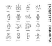 set of 16 simple line icons... | Shutterstock .eps vector #1166158063