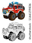 cartoon funny off road fire... | Shutterstock . vector #1166159836