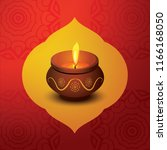 happy diwali with candle design   Shutterstock .eps vector #1166168050