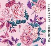 seamless pink peony botanical... | Shutterstock .eps vector #1166175649