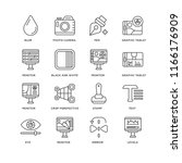 set of 16 simple line icons... | Shutterstock .eps vector #1166176909