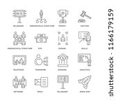 set of 16 simple line icons... | Shutterstock .eps vector #1166179159