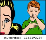 worried crying mother with sick ...   Shutterstock .eps vector #1166193289