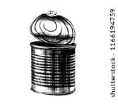 hand drawn old tin can with top ... | Shutterstock .eps vector #1166194759