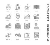 set of 16 simple line icons...   Shutterstock .eps vector #1166196736