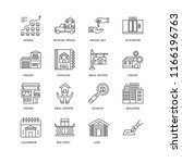 set of 16 simple line icons...   Shutterstock .eps vector #1166196763