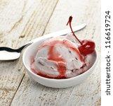 Vanilla And Cherry Ice Cream O...