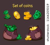 a set of coins and money for...