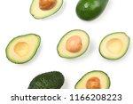 fresh ripe avocados on white... | Shutterstock . vector #1166208223