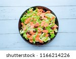 smoked salmon salad with fruit... | Shutterstock . vector #1166214226