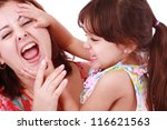 young mother playing with her... | Shutterstock . vector #116621563
