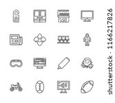 collection of 16 front outline... | Shutterstock .eps vector #1166217826
