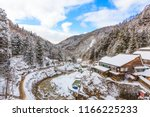 Beautiful landscape of a valley covered with snow in winter season at Jigokudani monkey park, the famous tourist destination in Yamanouchi Nagano, Japan