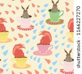 seamless pattern with bunny and ...   Shutterstock . vector #1166227270