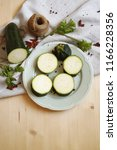 green zucchini dish   ...   Shutterstock . vector #1166228356
